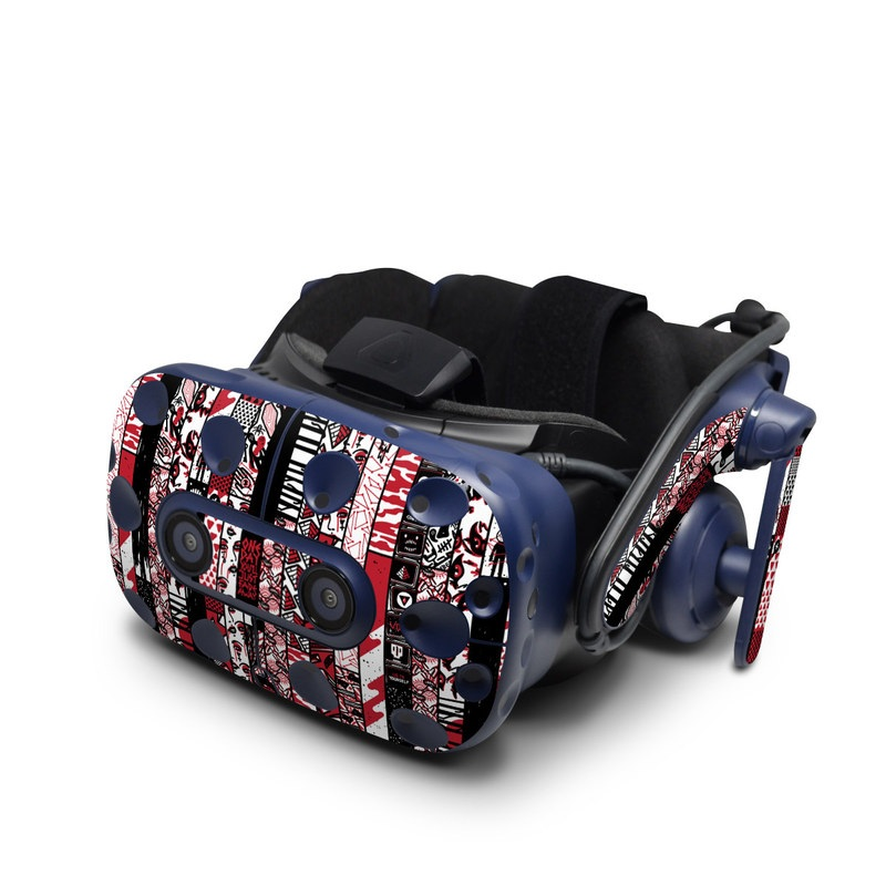 HTC VIVE Pro Skin design of Pattern, Design, Textile, Art with red, black, white colors