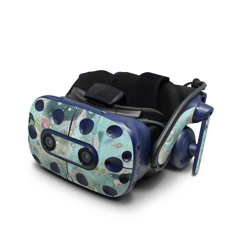 HTC VIVE Pro Skin design of Aqua, Blue, Green, Watercolor paint, Pattern, Turquoise, Organism, Design, Art, Painting with blue, green, pink colors