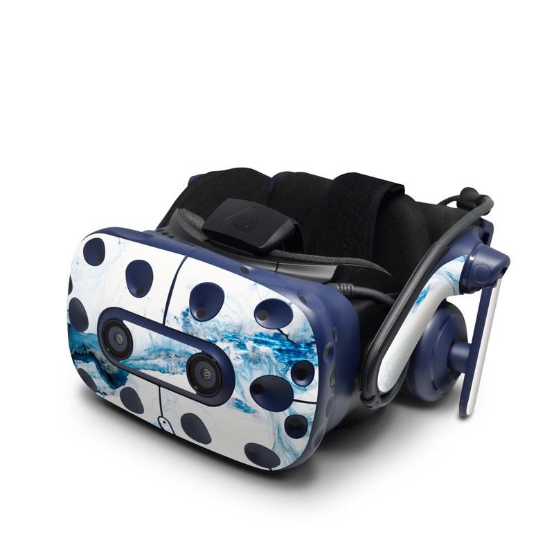 HTC VIVE Pro Skin design of Glacial landform, Blue, Water, Glacier, Sky, Arctic, Ice cap, Watercolor paint, Drawing, Art with white, blue, black colors
