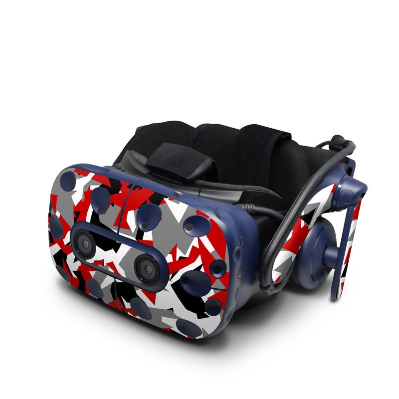 HTC VIVE Pro Skin design of Red, Pattern, Font, Design, Textile, Carmine, Illustration, Flag, Crowd with red, white, black, gray colors