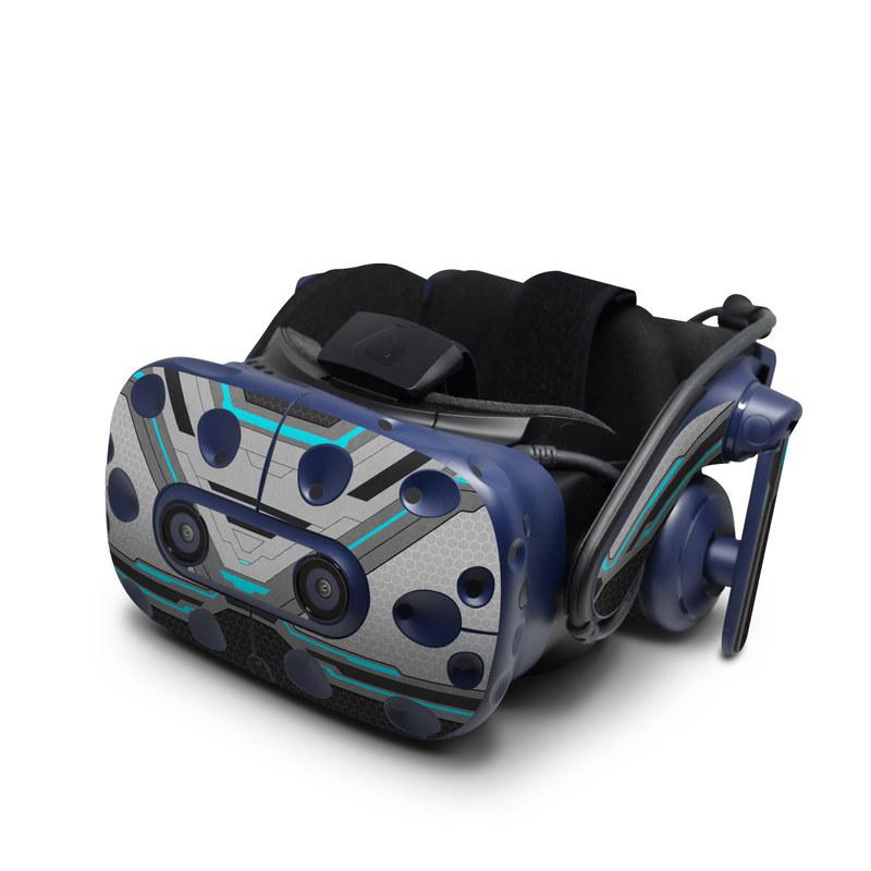 HTC VIVE Pro Skin design of Blue, Turquoise, Pattern, Teal, Symmetry, Design, Line, Automotive design, Font with black, gray, blue colors