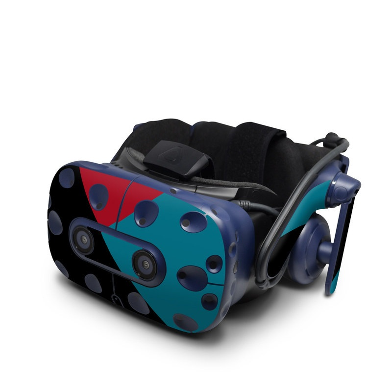 HTC VIVE Pro Skin design of Blue, Green, Turquoise, Azure, Teal, Electric blue, Line, Pattern, Design, Graphic design with black, blue, red colors