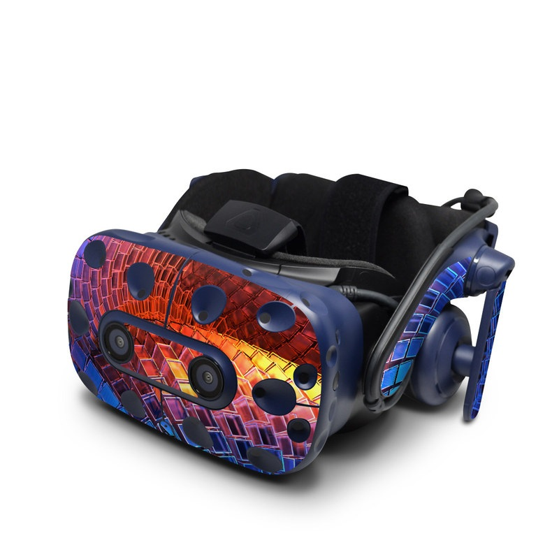HTC VIVE Pro Skin design of Blue, Red, Orange, Light, Pattern, Architecture, Design, Fractal art, Colorfulness, Psychedelic art with black, red, blue, purple, gray colors