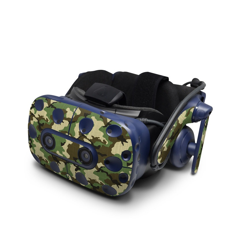 HTC VIVE Pro Skin design of Military camouflage, Camouflage, Clothing, Pattern, Green, Uniform, Military uniform, Design, Sportswear, Plane with black, gray, green colors