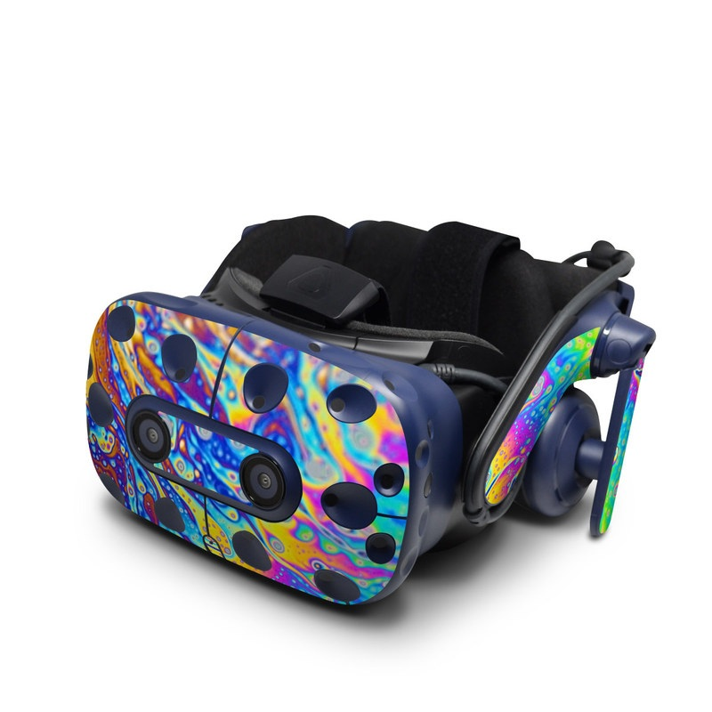 HTC VIVE Pro Skin design of Psychedelic art, Blue, Pattern, Art, Visual arts, Water, Organism, Colorfulness, Design, Textile with gray, blue, orange, purple, green colors