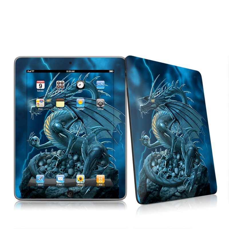 iPad 1st Gen Skin design of Cg artwork, Dragon, Mythology, Fictional character, Illustration, Mythical creature, Art, Demon with blue, yellow colors