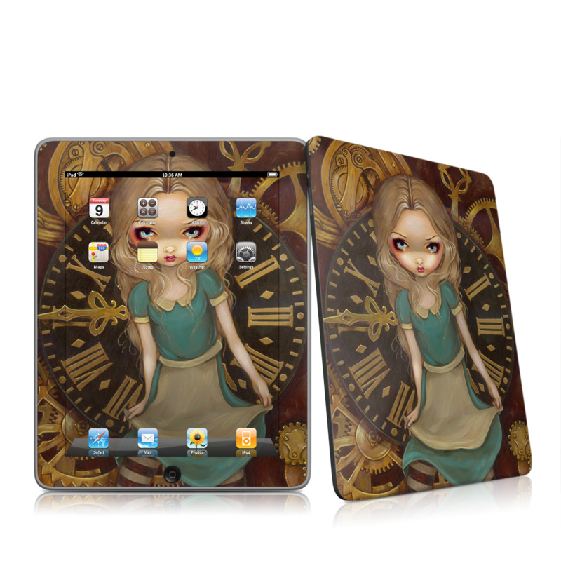 iPad 1st Gen Skin design of Face, Head, Doll, Iris, Cheek, Illustration, Cg artwork, Eye, Art, Fictional character with blue, yellow, brown colors