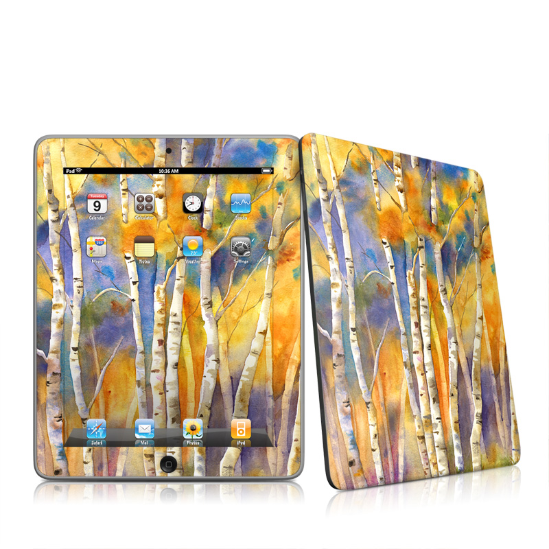 iPad 1st Gen Skin design of Canoe birch, Watercolor paint, Tree, Birch, Woody plant, Painting, Plant, Birch family, Paint, Trunk with orange, yellow, green, white, purple, blue colors