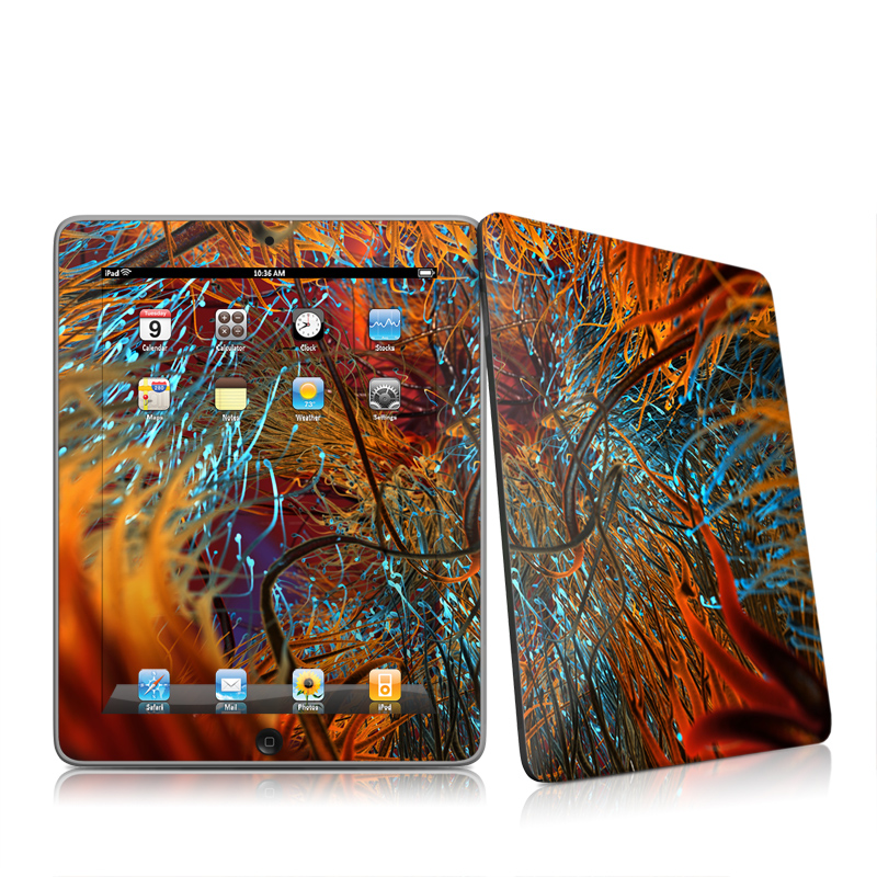 iPad 1st Gen Skin design of Orange, Tree, Electric blue, Organism, Fractal art, Plant, Art, Graphics, Space, Psychedelic art with orange, blue, red, yellow, purple colors