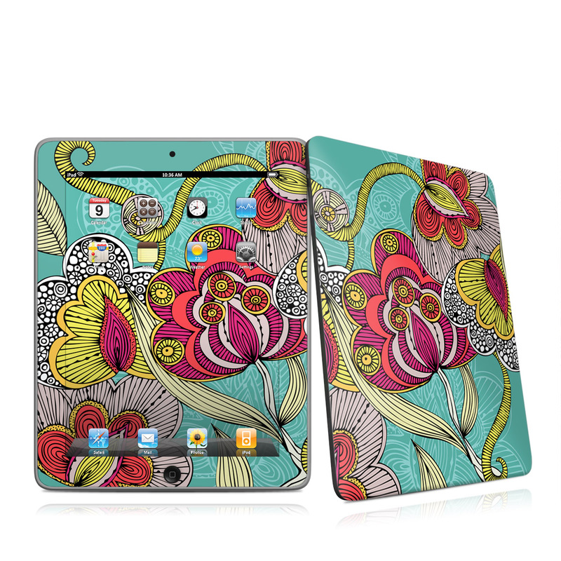 iPad 1st Gen Skin design of Pattern, Visual arts, Motif, Floral design, Design, Art, Plant, Flower, Organism, Textile with red, yellow, blue, gray, pink colors