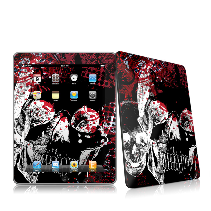 iPad 1st Gen Skin design of Graphic design, Illustration, Poster, Design, Art, Fictional character, Font, Graphics, Pattern, Album cover with black, red, white colors