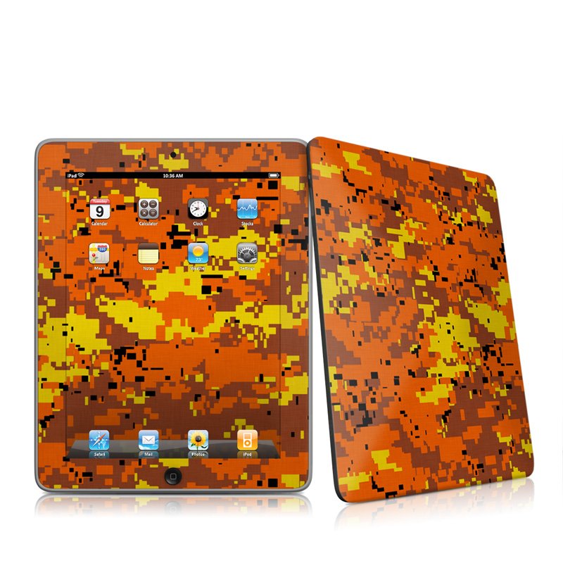 Digital Orange Camo Apple iPad 1st Gen Skin