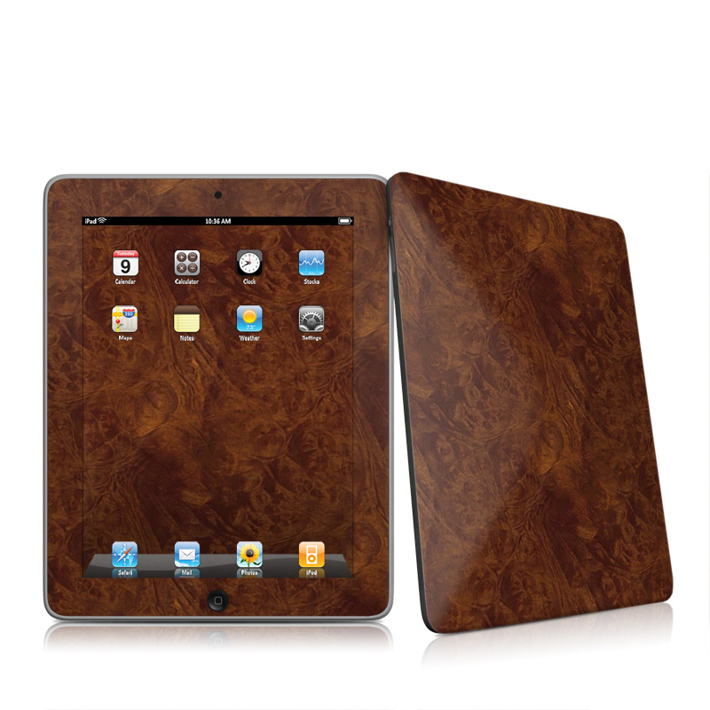 Dark Burlwood Apple iPad 1st Gen Skin