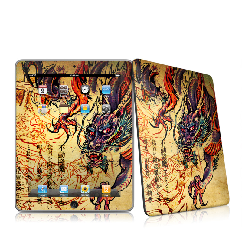 iPad 1st Gen Skin design of Illustration, Fictional character, Art, Demon, Drawing, Visual arts, Dragon, Supernatural creature, Mythical creature, Mythology with black, green, red, gray, pink, orange colors