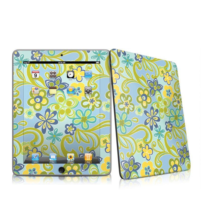 Hippie Flowers Blue iPad 1st Gen Skin