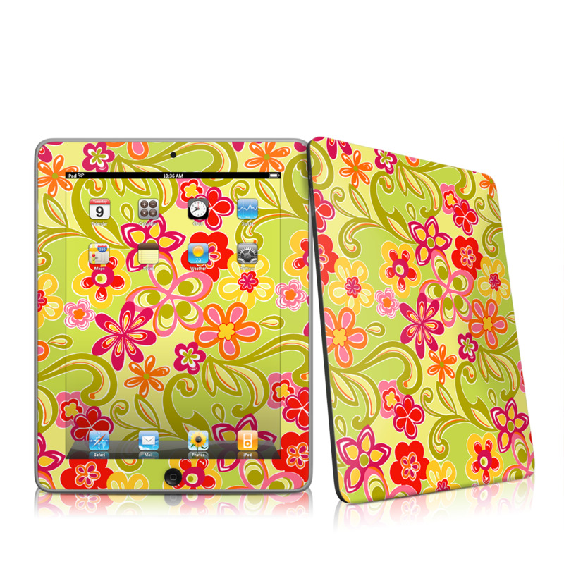 Hippie Flowers Hot Pink Apple iPad 1st Gen Skin