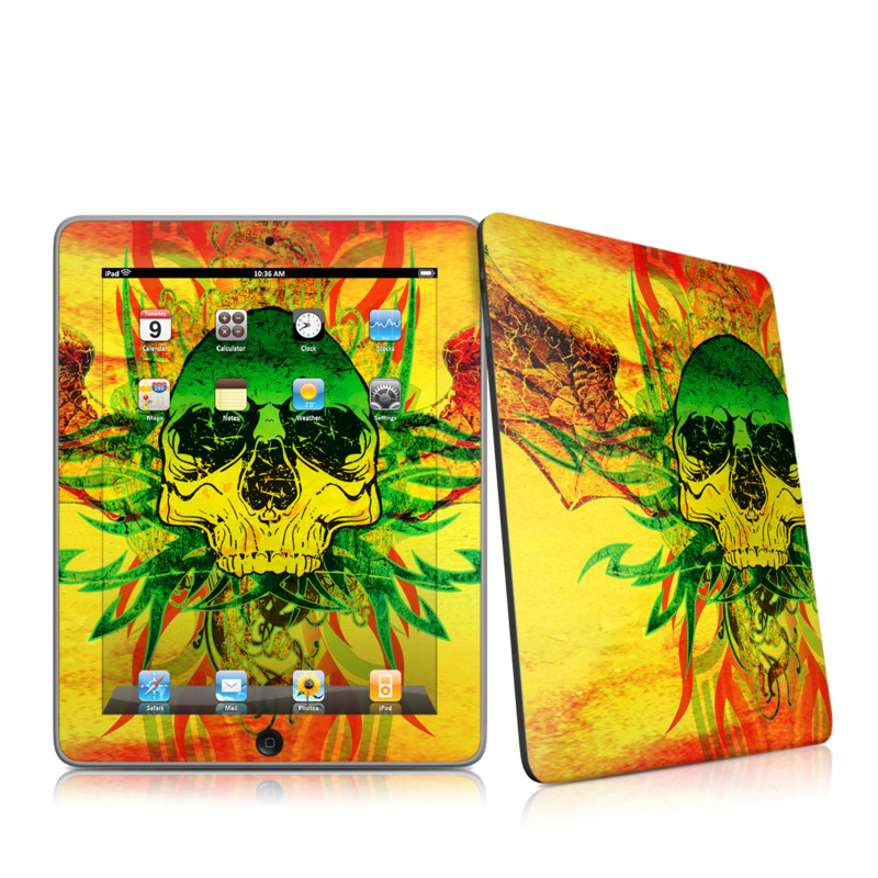 iPad 1st Gen Skin design of Psychedelic art, Skull, Illustration, Bone, Art, Graphic design, Visual arts, Poster, Plant, Painting with green, orange, black, red colors