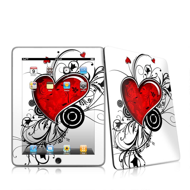 iPad 1st Gen Skin design of Heart, Line art, Love, Clip art, Plant, Graphic design, Illustration with white, gray, black, red colors