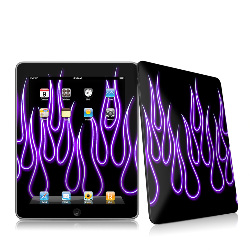 Purple Neon Flames iPad 1st Gen Skin