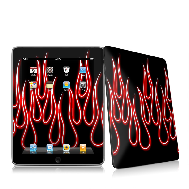 Red Neon Flames iPad 1st Gen Skin