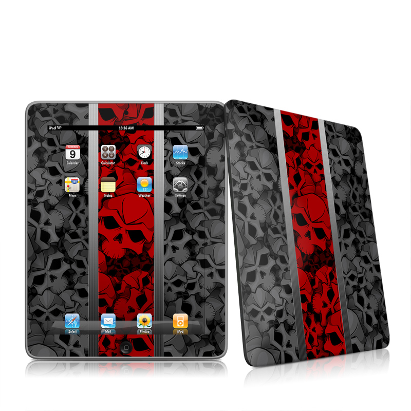 iPad 1st Gen Skin design of Font, Text, Pattern, Design, Graphic design, Black-and-white, Monochrome, Graphics, Illustration, Art with black, red, gray colors