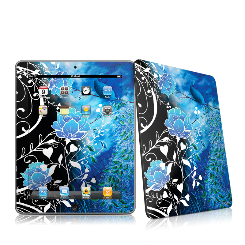 iPad 1st Gen Skin design of Blue, Pattern, Graphic design, Design, Illustration, Organism, Visual arts, Graphics, Plant, Art with black, blue, gray, white colors