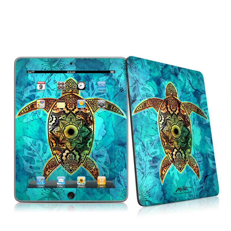 iPad 1st Gen Skin design of Sea turtle, Green sea turtle, Turtle, Hawksbill sea turtle, Tortoise, Reptile, Loggerhead sea turtle, Illustration, Art, Pattern with blue, black, green, gray, red colors