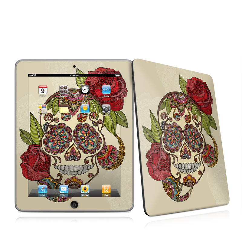 iPad 1st Gen Skin design of Illustration, Art, Pattern, Design, Skull, Plant, Rose, Flower, Font, Bone with gray, black, red, green colors