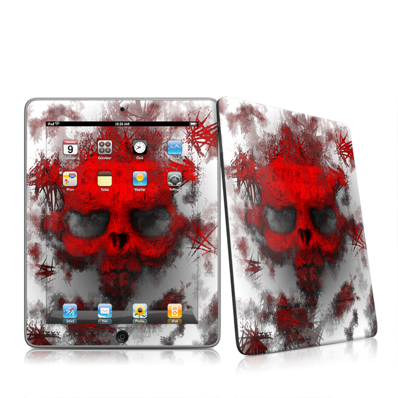 iPad 1st Gen Skin design of Red, Graphic design, Skull, Illustration, Bone, Graphics, Art, Fictional character with red, gray, black, white colors