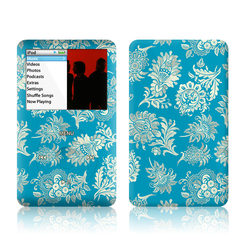 iPod classic Skin design of Pattern, Aqua, Turquoise, Teal, Design, Motif, Wrapping paper, Visual arts, Floral design, Pedicel with blue, gray, yellow colors