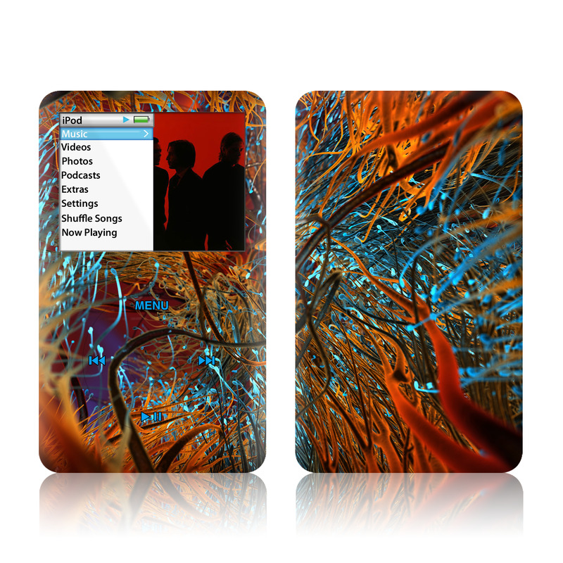 iPod classic Skin design of Orange, Tree, Electric blue, Organism, Fractal art, Plant, Art, Graphics, Space, Psychedelic art with orange, blue, red, yellow, purple colors
