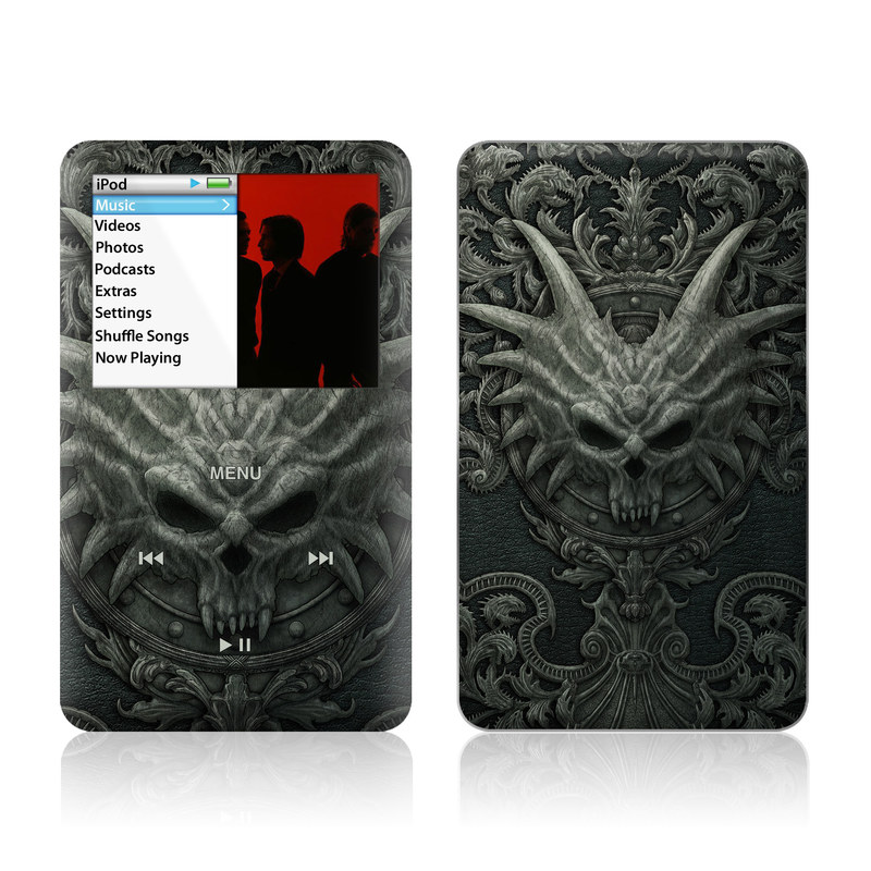 iPod classic Skin design of Demon, Dragon, Fictional character, Illustration, Supernatural creature, Drawing, Symmetry, Art, Mythology, Mythical creature with black, gray colors