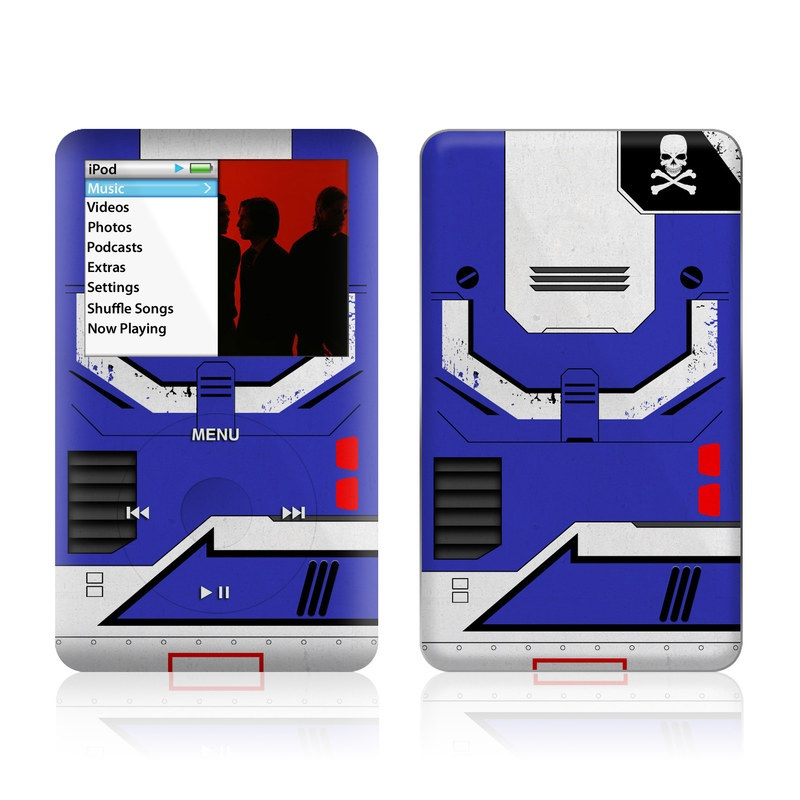 iPod classic Skin design of Floppy disk, Technology, Electric blue, Fictional character with white, blue, black, gray colors
