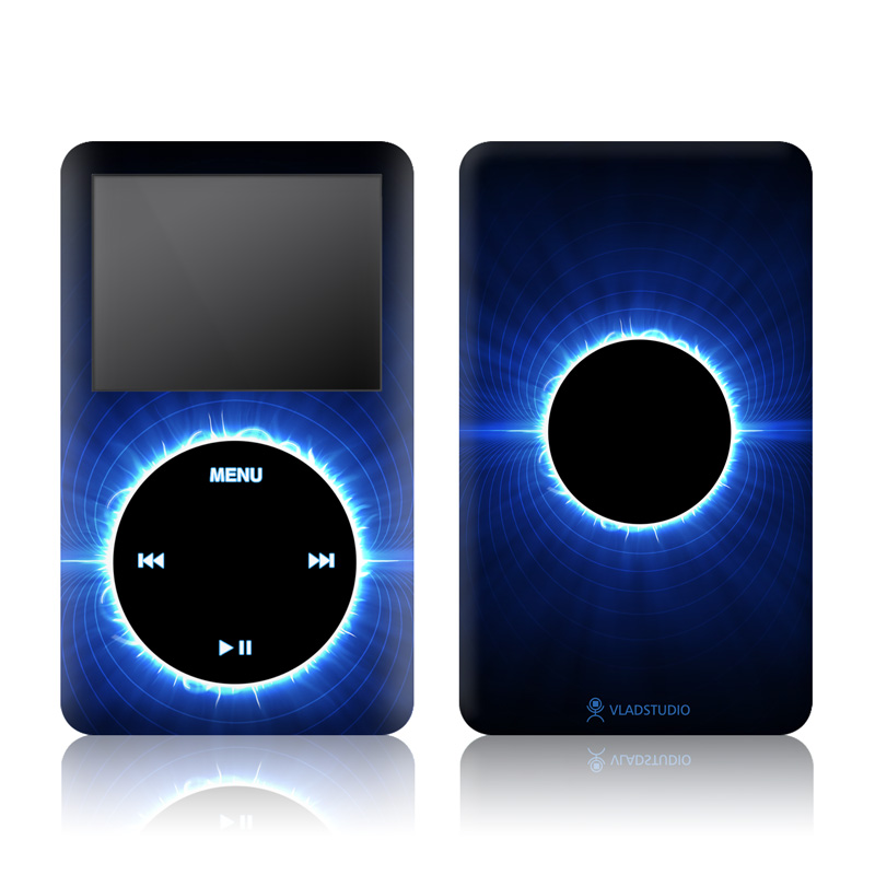 iPod classic Skin design of Atmosphere, Sky, Nature, Light, Blue, Astronomical object, Corona, Celestial event, Daytime, Circle with black, blue colors