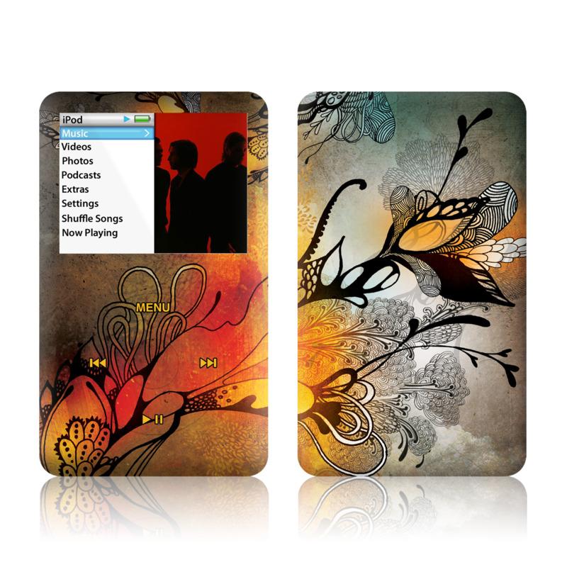 iPod classic Skin design of Yellow, Orange, Art, Branch, Leaf, Graphic design, Visual arts, Pattern, Design, Modern art with black, red, orange, yellow colors