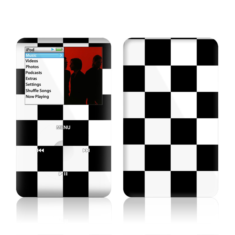 iPod classic Skin design of Black, Photograph, Games, Pattern, Indoor games and sports, Black-and-white, Line, Design, Recreation, Square with black, white colors
