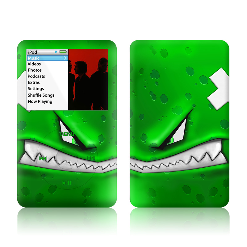 iPod classic Skin design of Green, Font, Animation, Logo, Graphics, Games with green, white colors