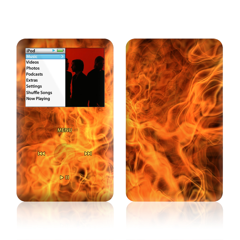 iPod classic Skin design of Flame, Fire, Heat, Orange with red, orange, black colors