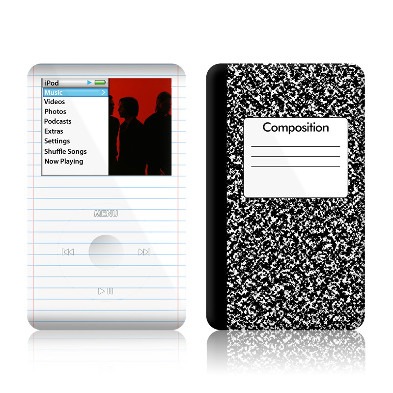 iPod classic Skin design of Text, Font, Line, Pattern, Black-and-white, Illustration with black, gray, white colors