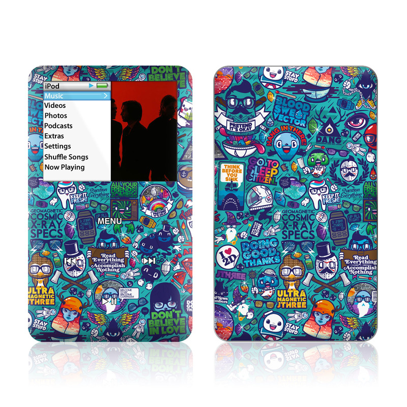 iPod classic Skin design of Art, Visual arts, Illustration, Graphic design, Psychedelic art with blue, black, gray, red, green colors