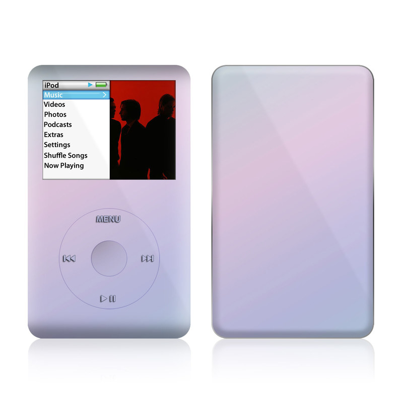 iPod classic Skin design of White, Blue, Daytime, Sky, Atmospheric phenomenon, Atmosphere, Calm, Line, Haze, Fog with pink, purple, blue colors