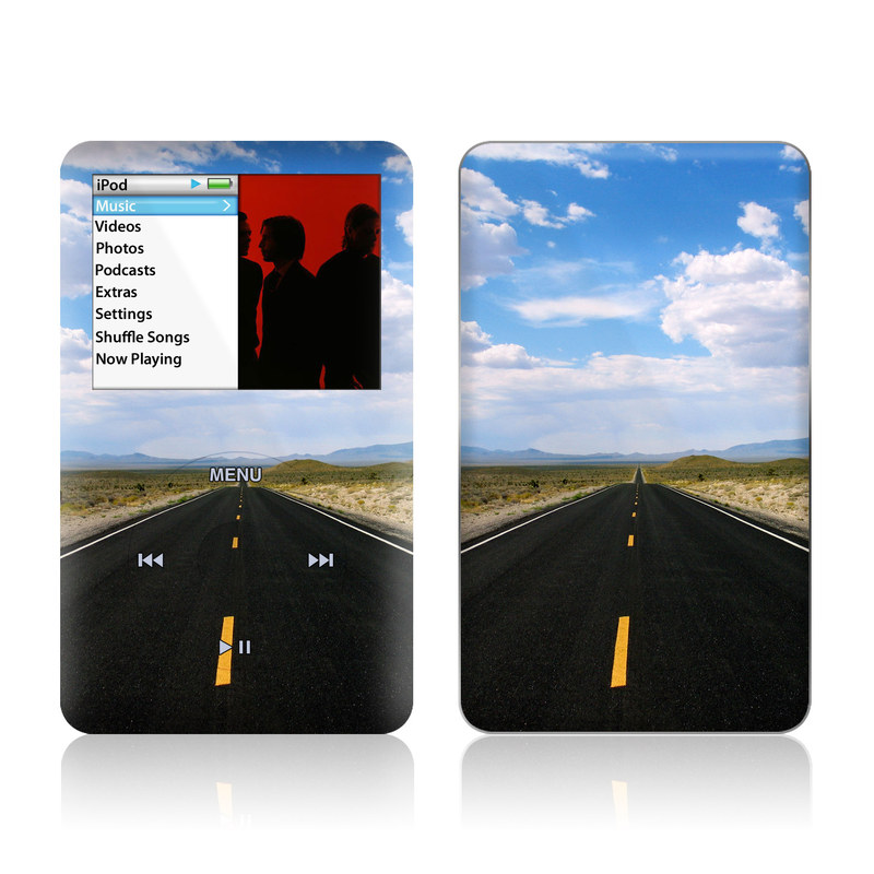 iPod classic Skin design of Road, Asphalt, Highway, Sky, Horizon, Road trip, Cloud, Road surface, Thoroughfare, Lane with gray, black, blue, purple, green, red colors