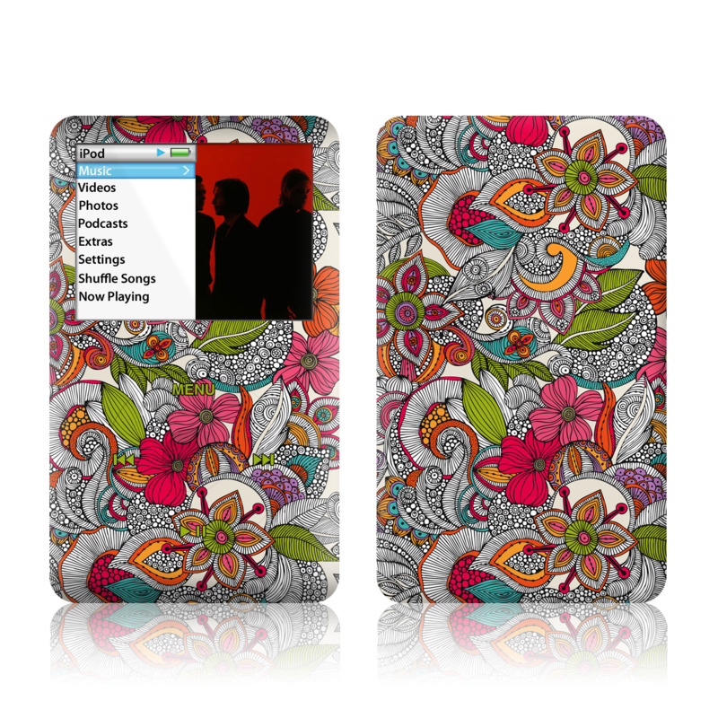 iPod classic Skin design of Pattern, Drawing, Visual arts, Art, Design, Doodle, Floral design, Motif, Illustration, Textile with gray, red, black, green, purple, blue colors