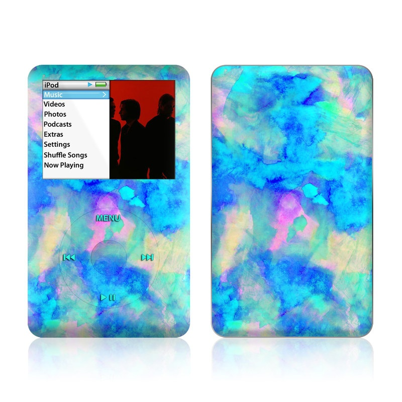 iPod classic Skin design of Blue, Turquoise, Aqua, Pattern, Dye, Design, Sky, Electric blue, Art, Watercolor paint with blue, purple colors