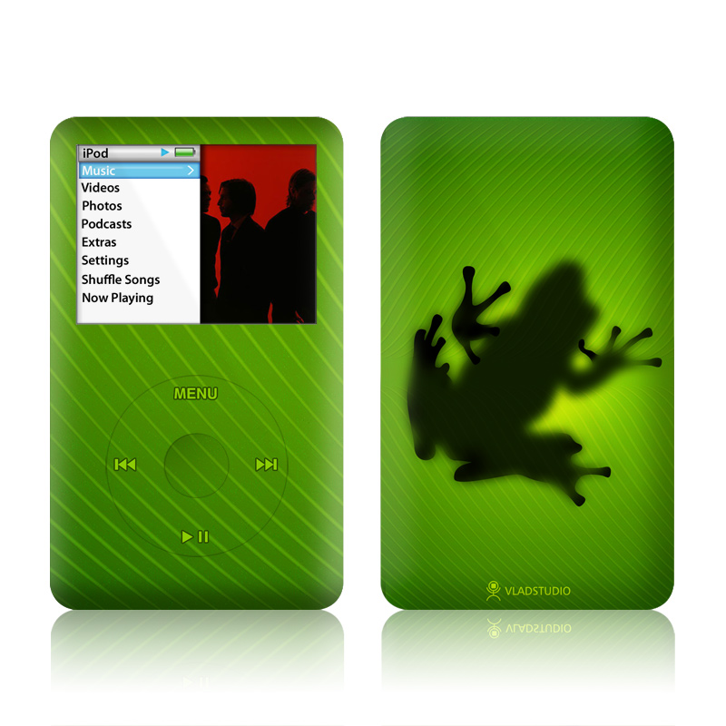 iPod classic Skin design of Green, Frog, Tree frog, Amphibian, Shadow, Silhouette, Macro photography, Illustration with green, black colors