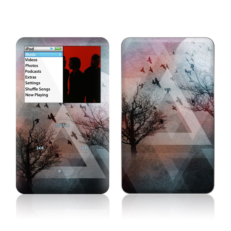 iPod classic Skin design of Sky, Tree, Red, Natural landscape, Branch, Watercolor paint, Painting, Visual arts, Art, Illustration with gray, black, red, blue, green colors