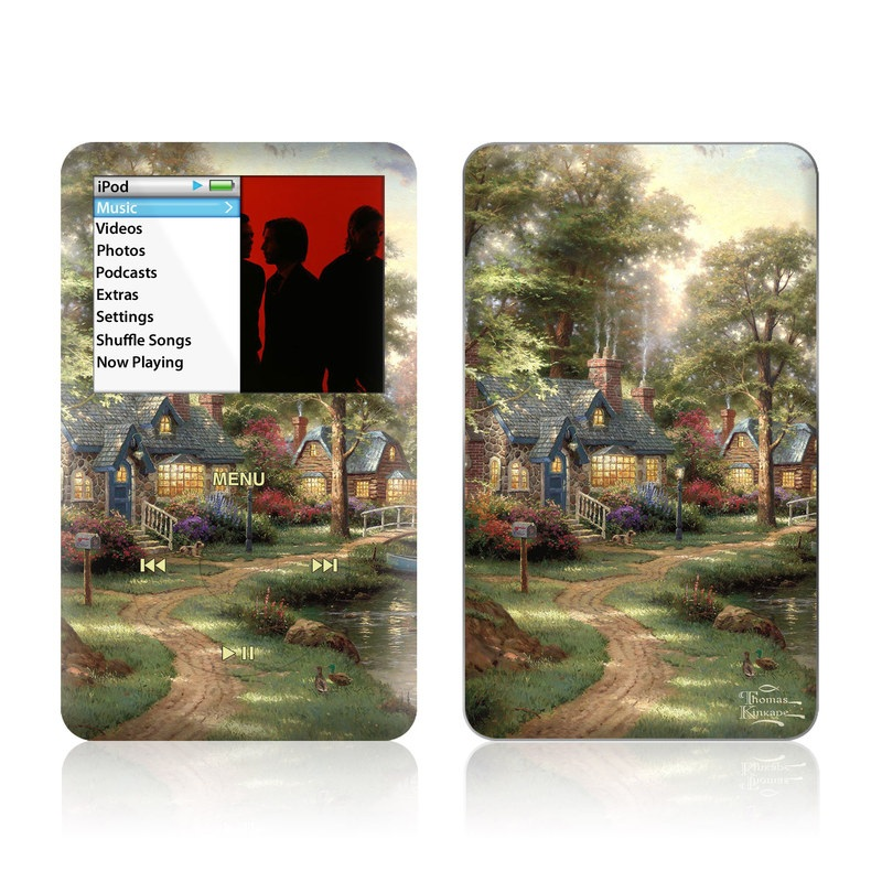 iPod classic Skin design of Painting, Natural landscape, Home, House, Tree, Waterway, Bank, Landscape, Watercolor paint, Art with black, green, gray, red, yellow, pink colors