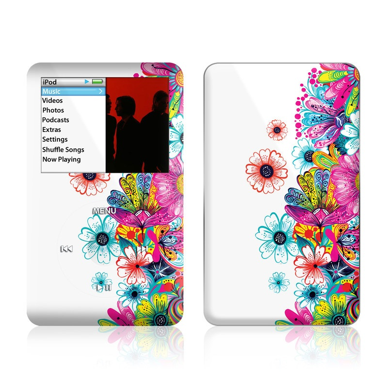 iPod classic Skin design of Pattern, Floral design, Design, Graphic design, Flower, Wildflower, Plant, Graphics, Clip art, Visual arts with white, pink, blue, yellow, purple, red colors