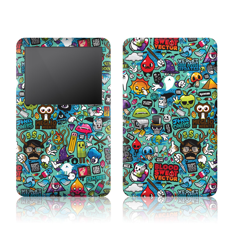 iPod classic Skin design of Cartoon, Art, Pattern, Design, Illustration, Visual arts, Doodle, Psychedelic art with black, blue, gray, red, green colors