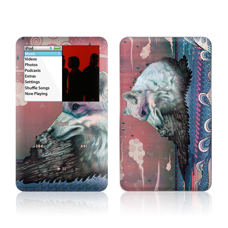 iPod classic Skin design of Illustration, Art with gray, black, blue, red, purple colors